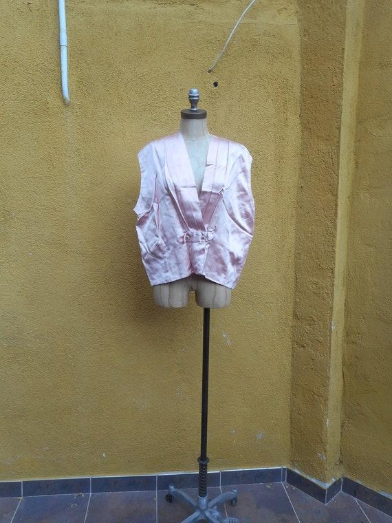 Vintage 1920s Pink Silk Pleated Oversized Vest Top