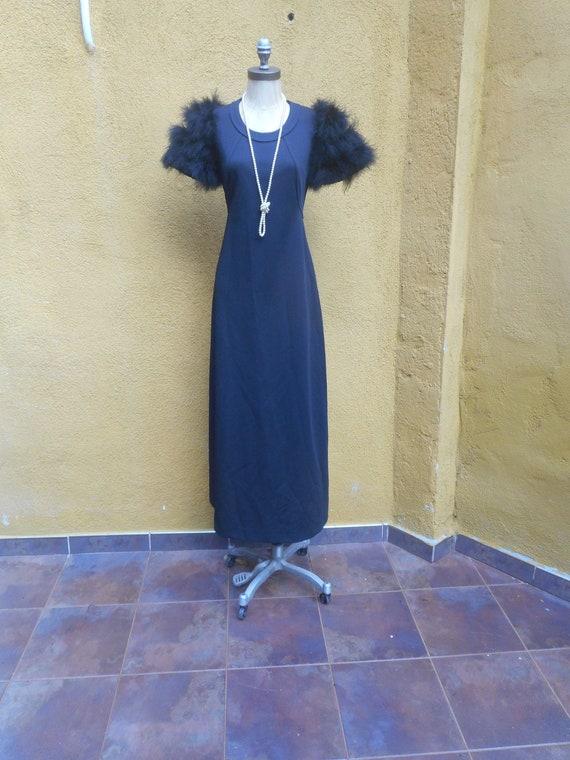 Vintage Femme Fatale Black 1970s Maxi Dress with F