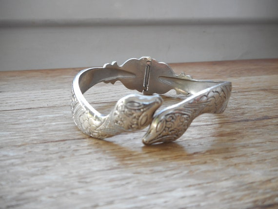 Vintage Silver Tone Snake Clamp Bangle Bracelet Si