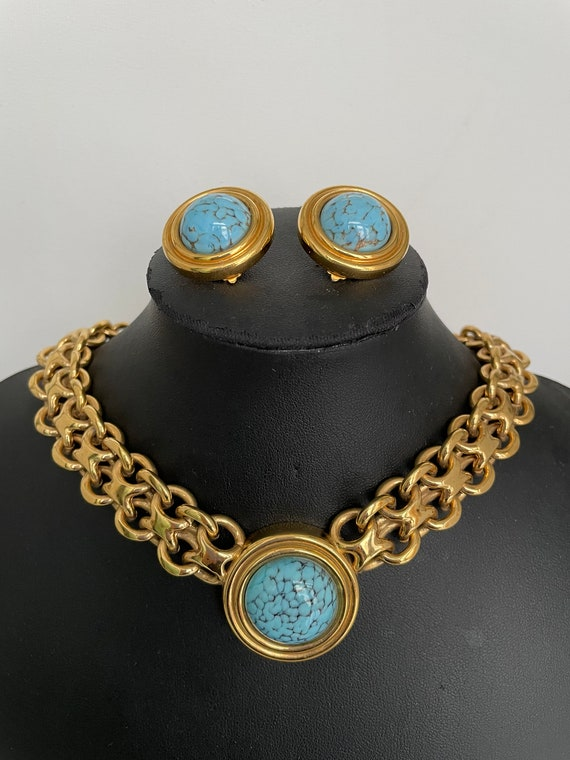 Vintage Authentic Lanvin Signed Gold and Turquois… - image 7