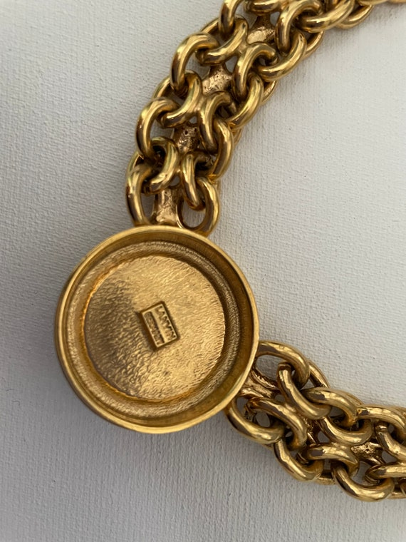 Vintage Authentic Lanvin Signed Gold and Turquois… - image 6