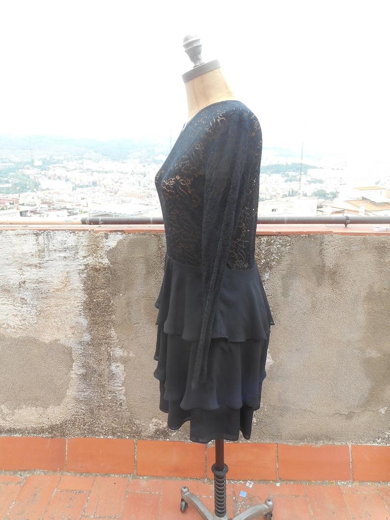 25/% off Sale Vintage Black Lace Semi Sheer Tiered Flounce Skirt Dress 90s Size Medium
