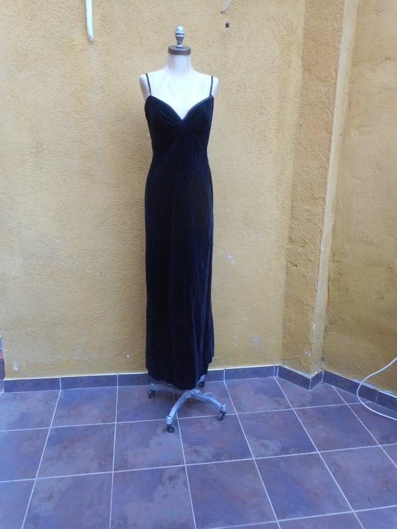 Vintage 80s Black Velvet Santa Eulalia Sleeveless