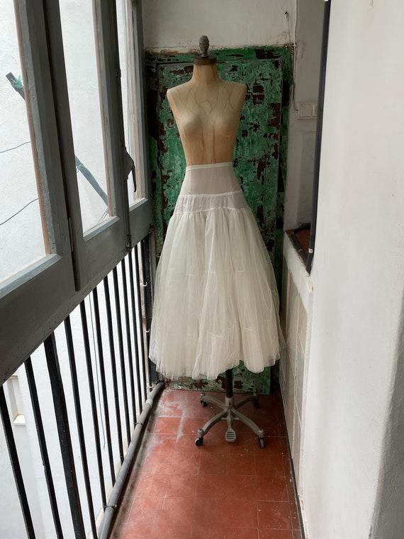 full midi knee length tulle skirt slip petticoat Vintage 1950s pink floral crinoline bridal wedding lingerie S M