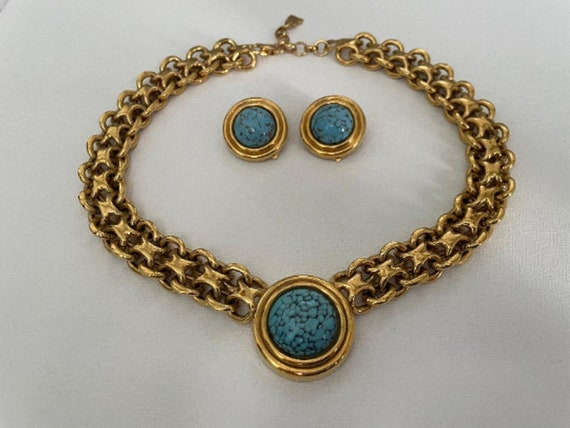 Vintage Authentic Lanvin Signed Gold and Turquois… - image 1