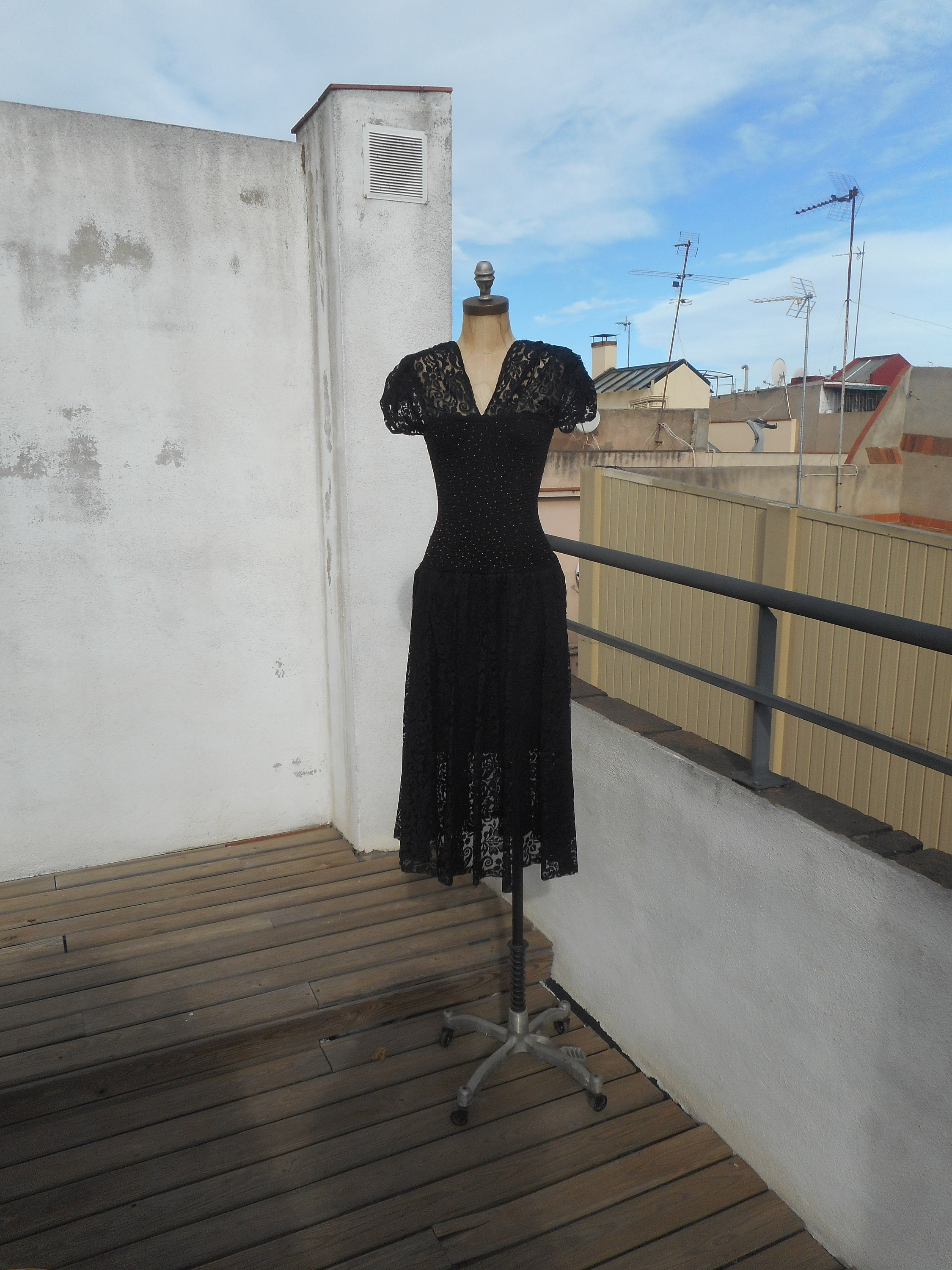 80s Dresses | Casual to Party Dresses Vintage 1980S Black Goth Lace Stretch Hourglass Fit  Flare Dress Size Small To Medium $59.31 AT vintagedancer.com