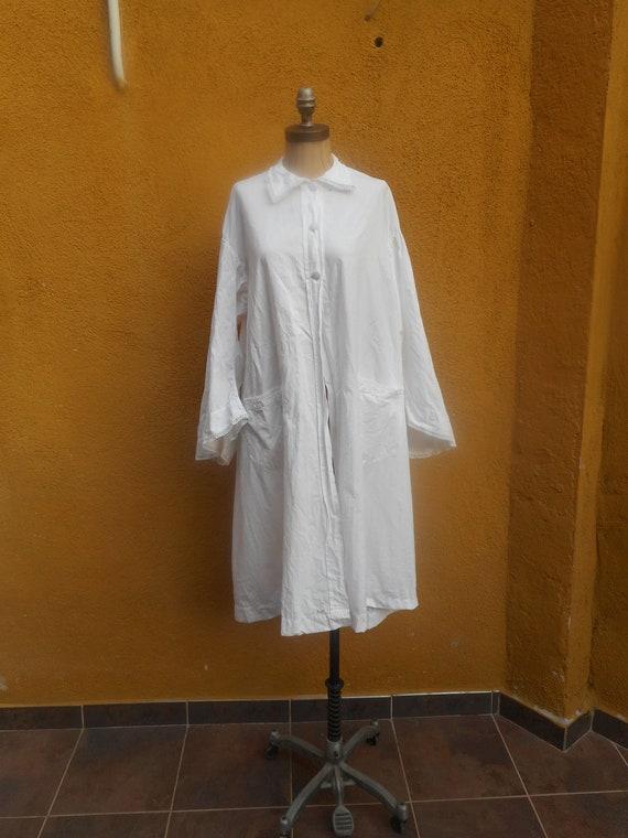 Vintage White Cotton Robe Swing Jacket Duster Slan