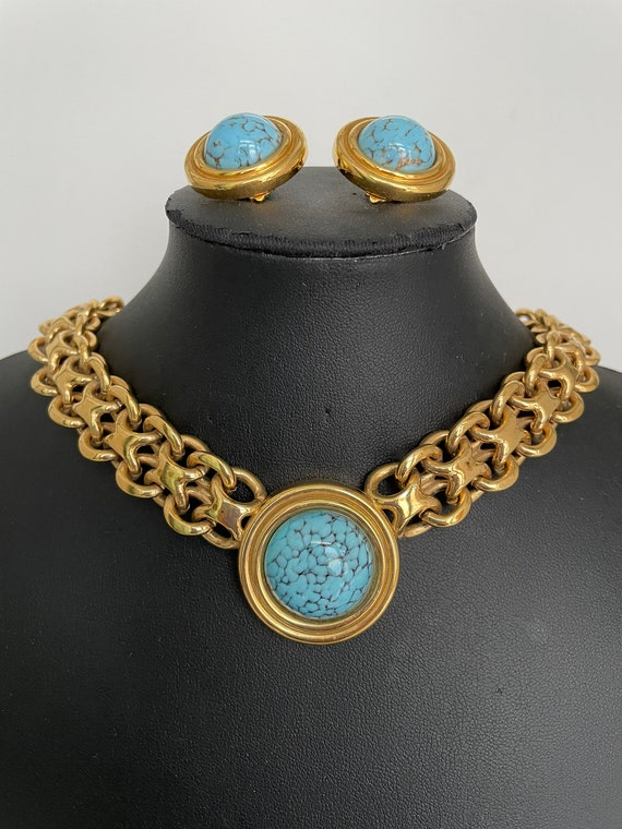 Vintage Authentic Lanvin Signed Gold and Turquois… - image 2