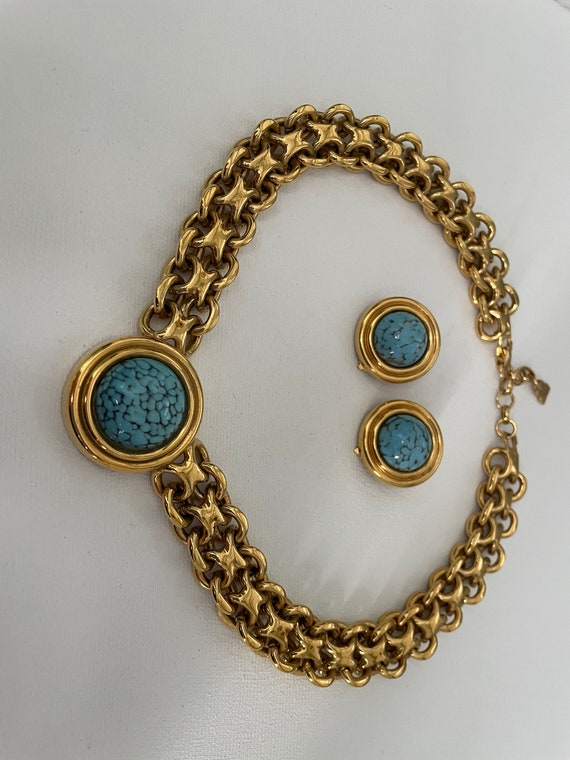 Vintage Authentic Lanvin Signed Gold and Turquois… - image 3