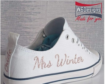 official photos 5a05d a41c9 Personalised DIY glitter Wedding converse pump vinyl transfers, ideal for  converse or canvas pumps, simply iron on, new Mrs surname decal