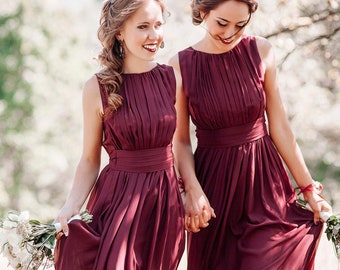 58afea6f446fd Bridesmaid Dress Marsala Maxi / Woman long chifon dress / Elegant floor  length gown / Wine flowy bridesmaid dress / Party dress / Burgundy