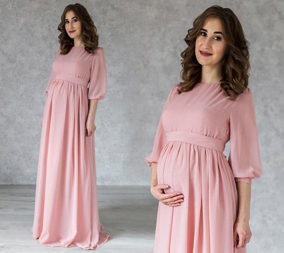 Elegance Blush Maternity Dress Long Chiffon Formal Dress For Etsy