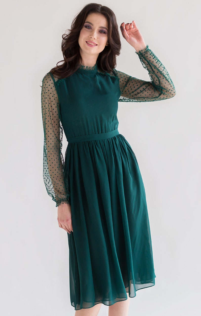 S size green dresses for women long sleeve emerald formal image 1