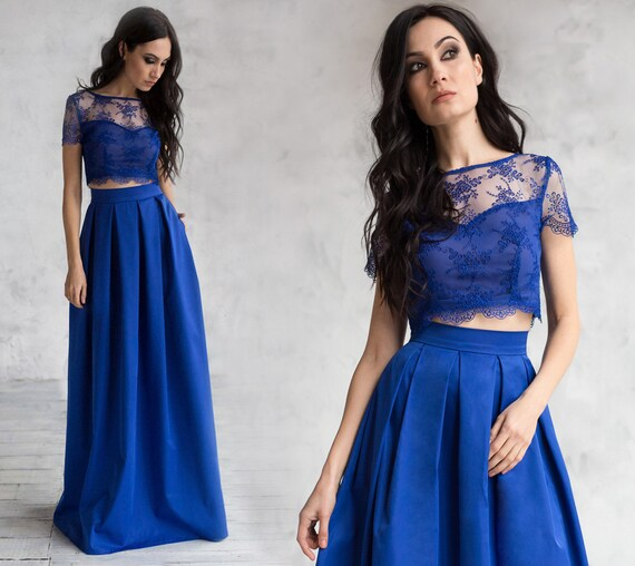 Two Piece Evening Dress with Elegant A Line Skirt and Lace Top Blue prom crop top & High waist skirt Unconventional evening gown