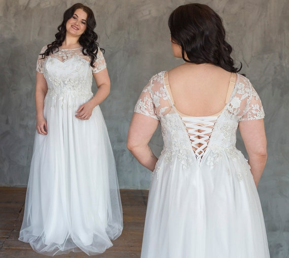 Princess Wedding Dress Plus Size With Corset Lace-up / Romantic lace up  back wedding dress with flower decor / XL ivory tulle bridal gown