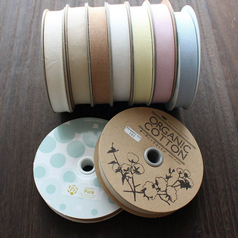 Taffeta ribbon about 5yards woven in Japan |Sold by 5meters 18mm wide *7colores*  Organic Cottone Tape
