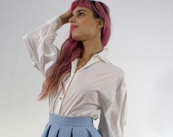 13cde9d47 Blue Polka Dots Pleated Mini Skirt, Harajuku Bubble Skirt, Secondhand Skirt