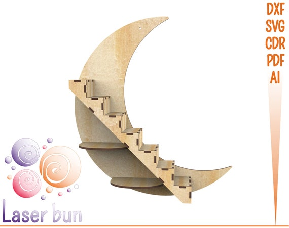 Crescent moon shelf Crystals display shelves vector SVG Glowforge moon stand files Dxf,Svg,Cnc Essential oils storage Crystals organizer