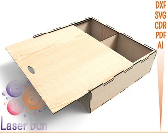 Laser cut  files box with dividers. Laser cut vector CNC SVG DXF files for wood box with lid and dividers. Glowforge cut files box plans.