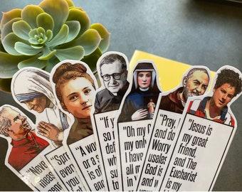 Saints Bookmarks |Mother Teresa|Padre Pio|Carlo Acutis|Therese of Lisieux|Josemaria Escriva|Fulton Sheen