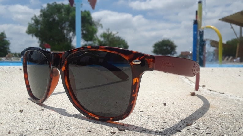 Red Bamboo Tortoise Framed Sunglasses With Wood Case, Polarized, Artisan Engraved