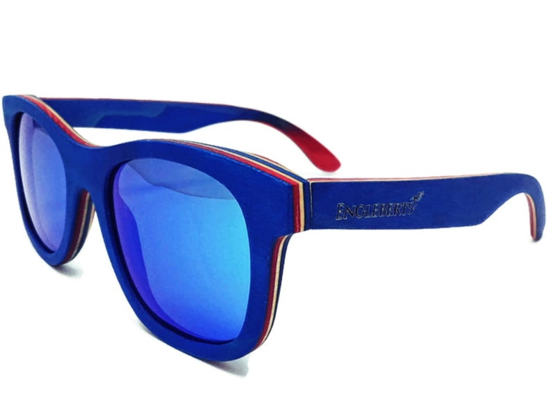 Engleberts Blue Skateboard Wood Multi-Colored Sunglasses, Ice Blue Polarized Lens, Handcrafted, UV 400, Free Pouch, Cloth and Straps