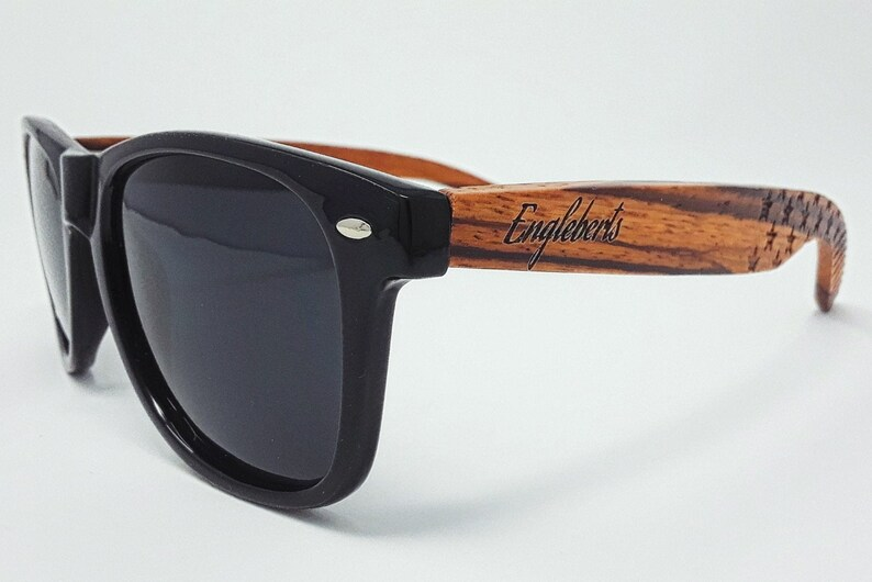 Engleberts Premium Handmade Zebrawood Sunglasses UV 400 Protection Anti-Reflective Polarized Lens Stars And Stripes Eco-Friendly