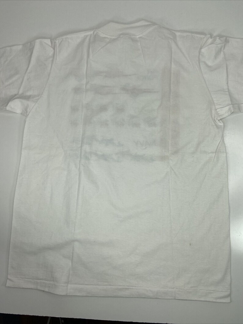 Vintage Costa Rican Armed Forces White T-shirt Size L Parrot Army Navy Air Force