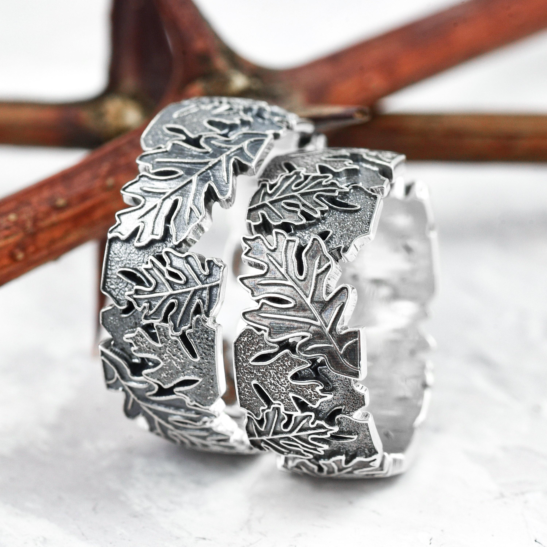 Nature wedding rings, couple rings, leaf wedding bands, nature inspired ring set, oak leaf ring, mens wedding band silver