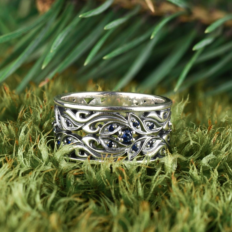 Silver gemstone wave ring set 925 silver fantasy ring Womens sapphire rings
