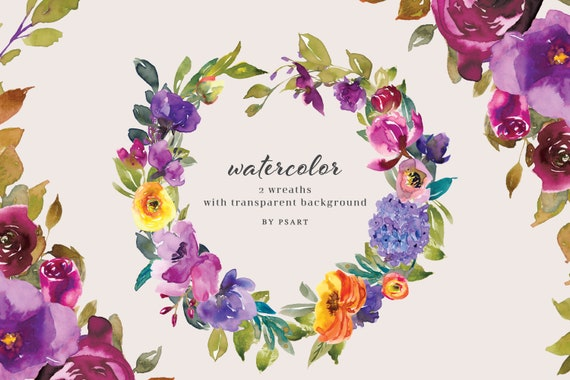 Watercolor Wreath Clipart  PNG Floral Clipart Set of Two Wreaths Wedding Stationery Logos Baby Room Decor #O1