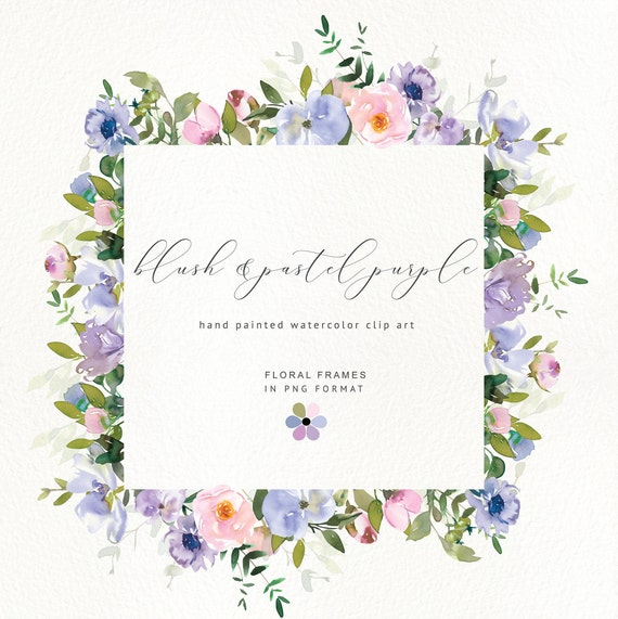 Blush and Pastel Purple* Watercolor Floral Clipart Violet Pink Flowers Roses Peonies PNG Frames Nursery Wedding Decor #P1