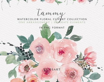 Tammy* Pink Blush Watercolor Floral Clipart Bouquet and Separate Elements PNG Floral Clipart Wedding Stationery Logos Baby Room Decor #O2