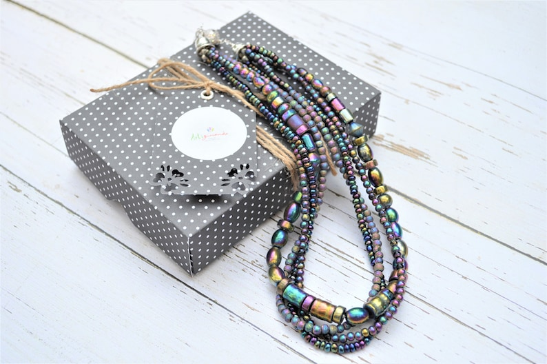 Multi strands necklace-Women beaded necklace-Mermaid Necklace for women-Glass seeds necklace-Statement necklace for women
