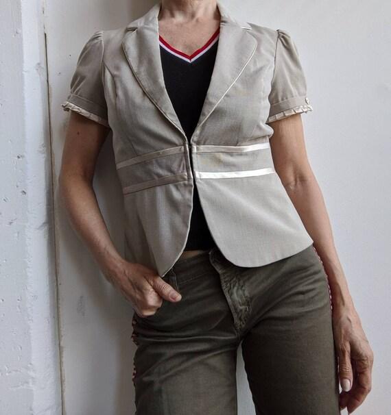 Retro Style  90s short sleeve summer  jacket puff