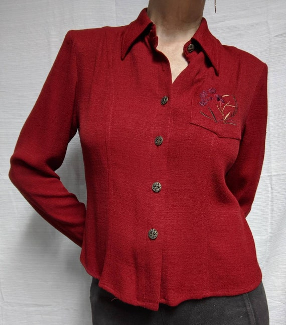 vintage 80s top red silk cutwork embroidered secretary blouse shirt S clothing