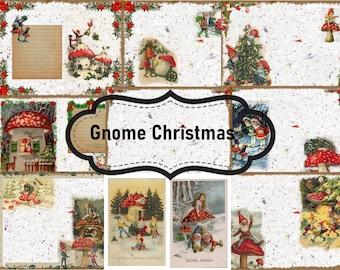 Gnome Christmas Junk Journal Digital Kit