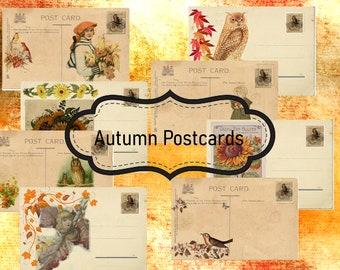 Autumn Postcards Junk Journal Ephemera