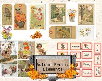 Autumn elements ephemera junk journal