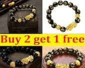 Feng Shui Black Obsidian Alloy Wealth Golden Pixiu Bracelet Lucky Jewelry USA -Buy 2 Get 1 FREE