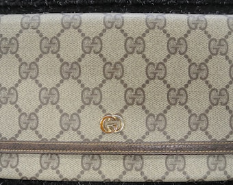f68f7bcaadc2 Gucci Bifold Monogram GG Wallet Coated Canvas Leather Fold Over Brown