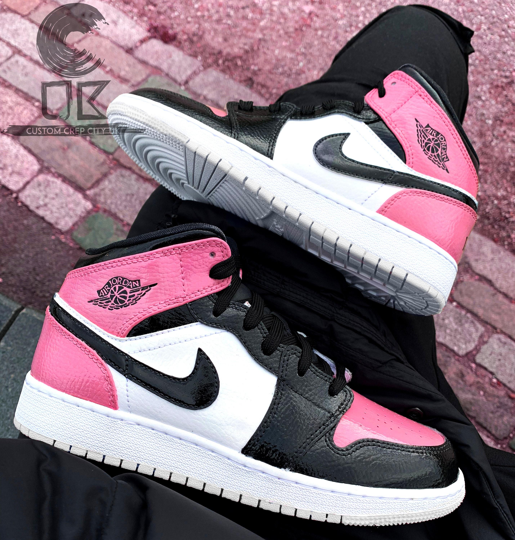Custom Jordan 1 (Pink & Black), Custom Trainers, Custom Jordan 1, Custom Jordan Shoes