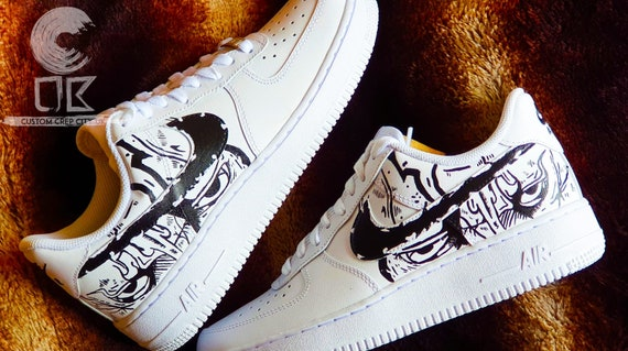 Custom Nike Air Force 1 (Midnight Stare), Black and White Trainers, Spill Trainers, Spill Air Force 1, Paint Air force 1, Custom Nike Shoes