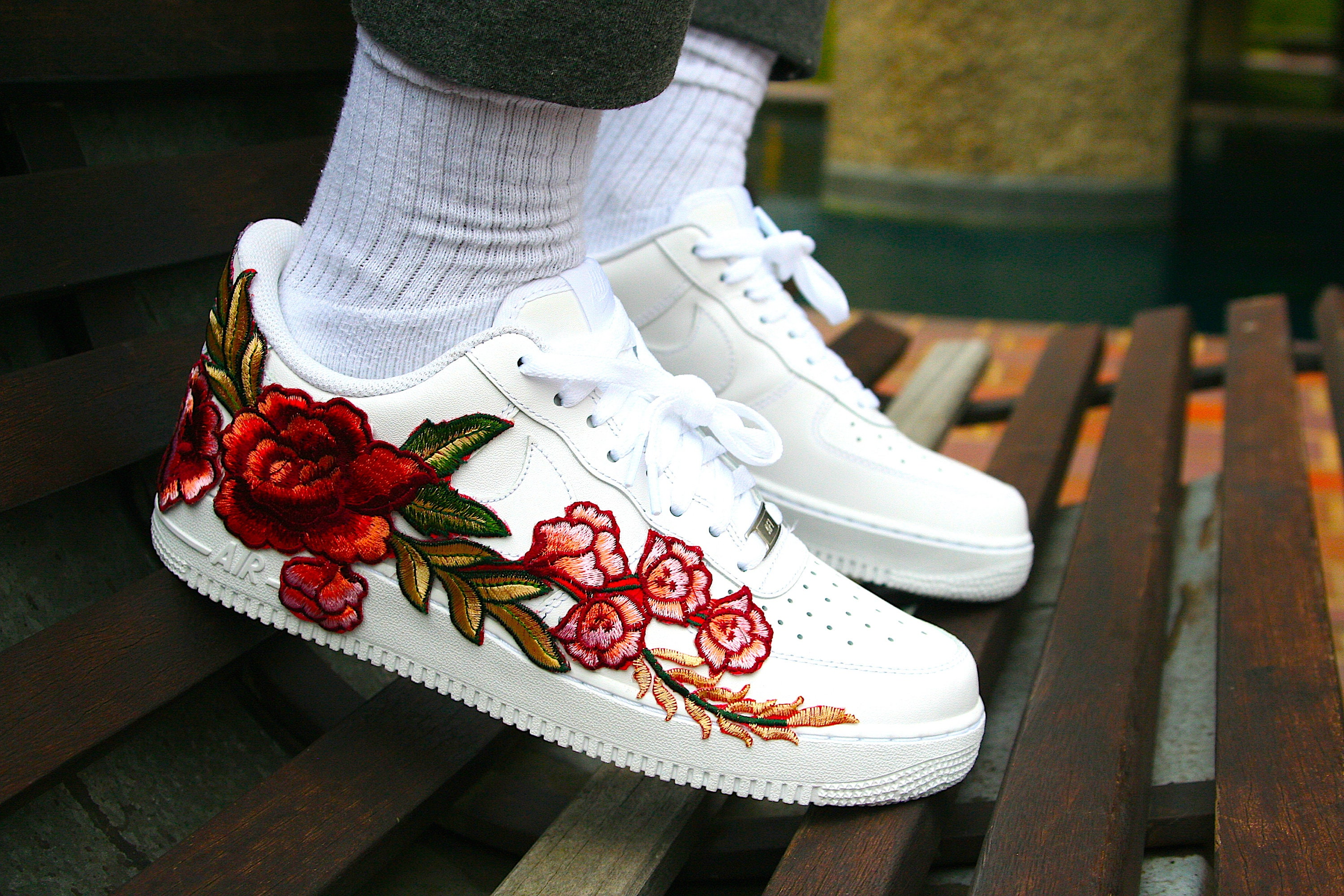 Custom Nike Air Force 1 (Blue Rose), Blue rose AF1, Blue Rose Custom, Embroidery AF1, Custom Air Forces, Blue Rose Embroidery Trainers