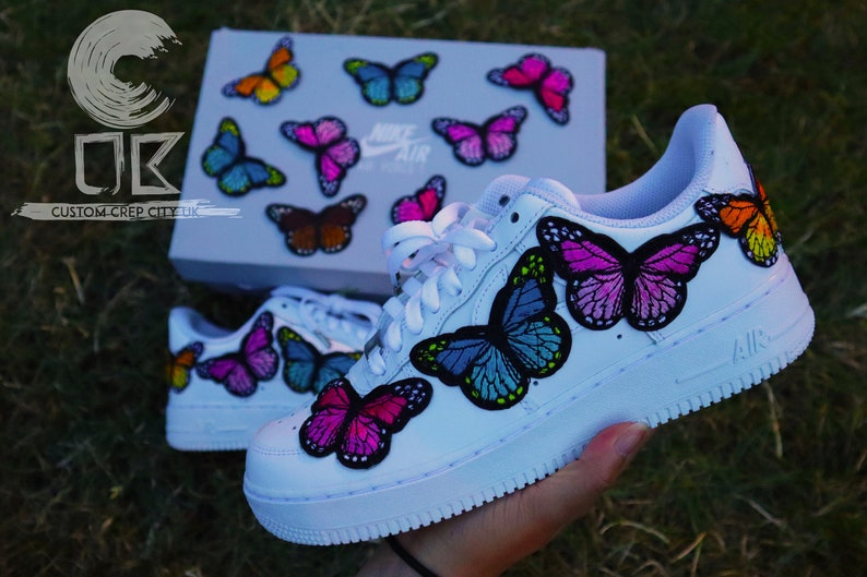 Custom Nike Air Force 1 (Blue Butterfly), Butter Force 1