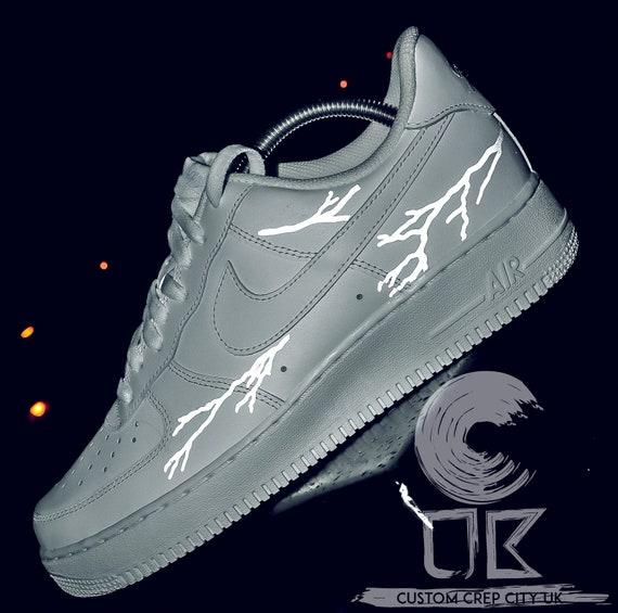 Reflecterende Lightning White Nike Air Force 1, Lightning Bolt Air Force 1, 3m Reflective Lightning Sneaker, Lightning AF1, reflecterende schoenen