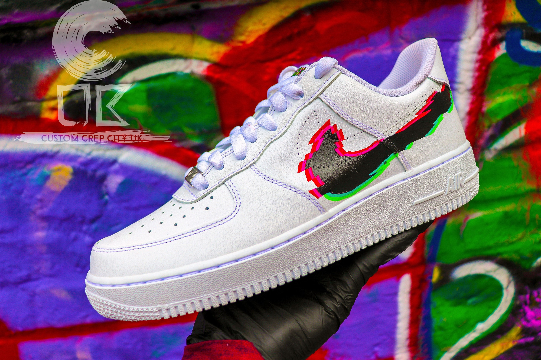 Custom Nike Air Force 1 (White GLITCH FX), Glitch AF1, Air Force Glitch, Glitch Customs, Custom Trainers, Custom Sneakers