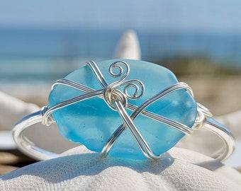 Nautical Jewelry Gift Light Sapphire Sea Glass Choker Necklace Beach Lover Jewelry Gift Gift For Sea Glass Lover Sea Glass Jewelry