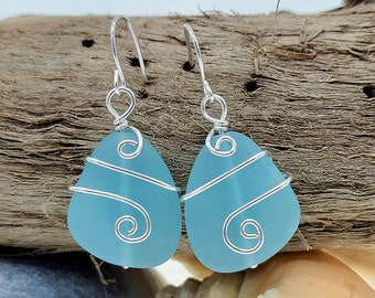 Turquoise Cultured Sea Glass Pendant; Sea Glass Pearl Necklace /& Earrings; Sea Glass Jewelry Set; Sterling Silver Swirl Pattern Beach Gift