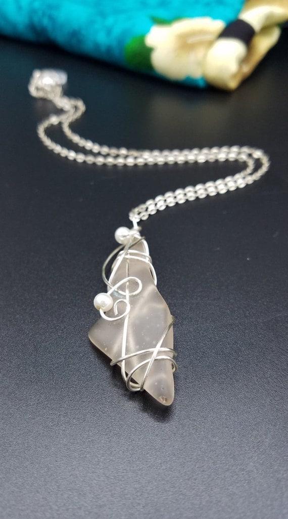 White Sea Glass Pendant Mermaid Treasure Wire Wrapped
